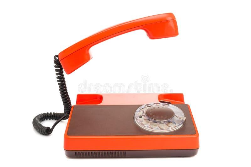 有在白色隔绝的轮循拨号的葡萄酒电话 免版税图库摄影