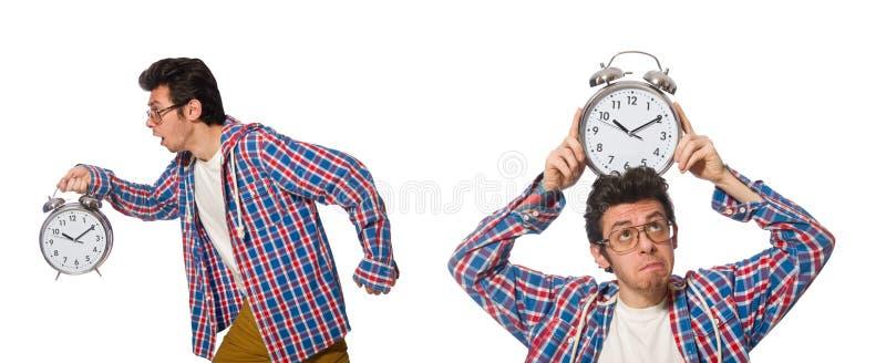 有在白色隔绝的闹钟的学生 免版税库存照片