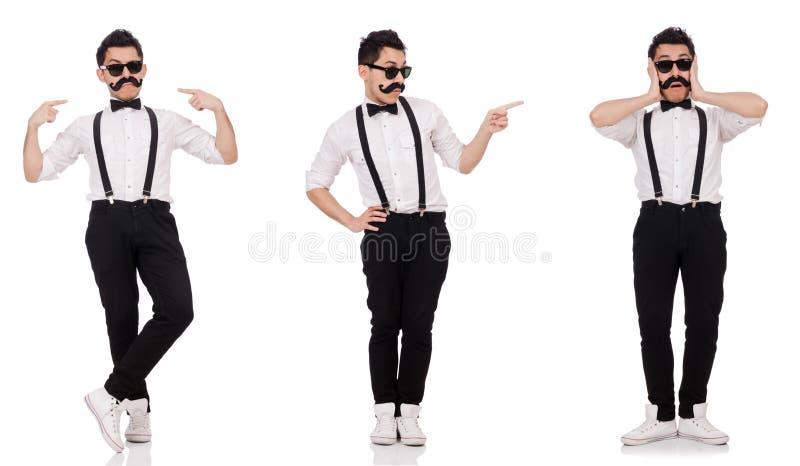 有在白色隔绝的髭的年轻人 库存图片