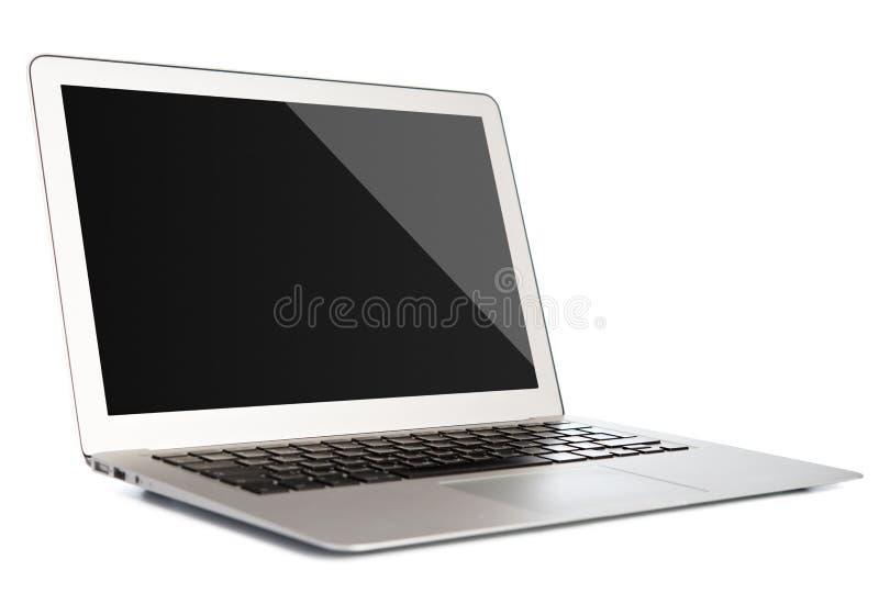 有在白色隔绝的黑屏的膝上型计算机 免版税库存图片