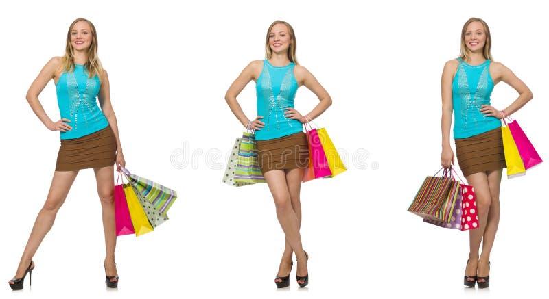 有在白色隔绝的购物袋的妇女 图库摄影
