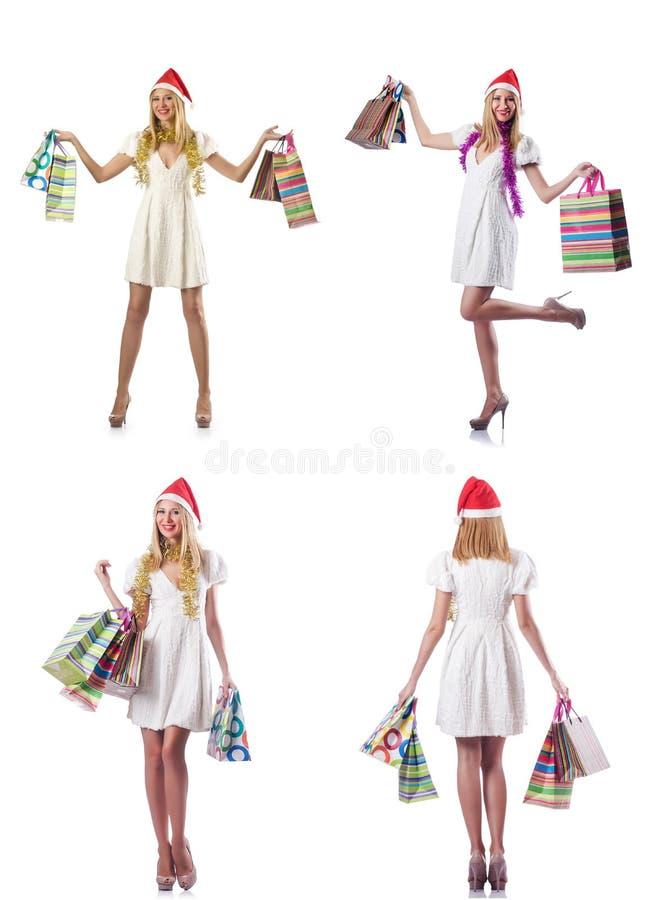 Download 有在白色隔绝的购物袋的妇女 库存图片. 图片 包括有 克劳斯, 查出, 节假日, 礼品, 客户, 综合, 编译 - 72362577
