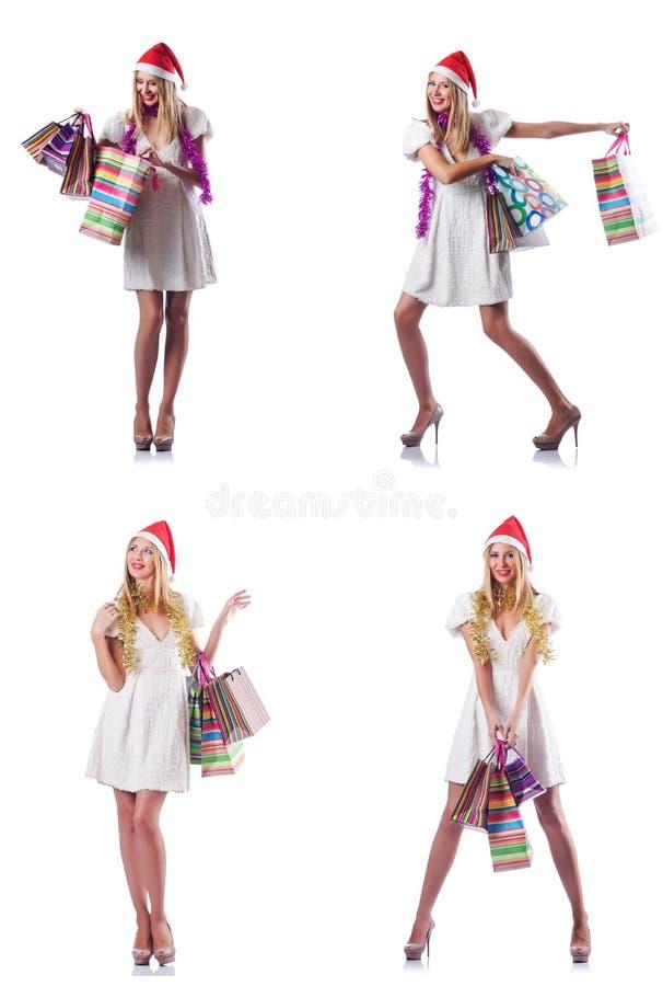 Download 有在白色隔绝的购物袋的妇女 库存图片. 图片 包括有 女孩, 有吸引力的, 礼品, 帽子, 蒙太奇, 敞篷 - 72364261