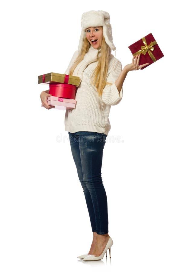 Download 有在白色隔绝的giftboxes的妇女 库存照片. 图片 包括有 生日, beauvoir, 幸福, 圣诞节 - 72360386