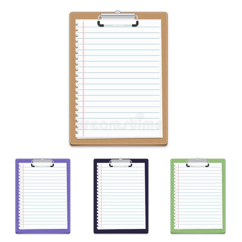 有在空白背景查出的白纸的剪贴板 皇族释放例证