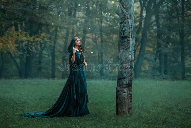 有在绿色昂贵的天鹅绒皇家斗篷礼服穿戴的红色长发的女孩公主,在黑暗的有雾的森林,艺术里得到了丢失 免版税库存照片