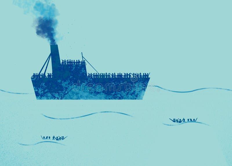 有在船上需要帮助的难民的船 有人的海在水中请求帮忙 向量例证