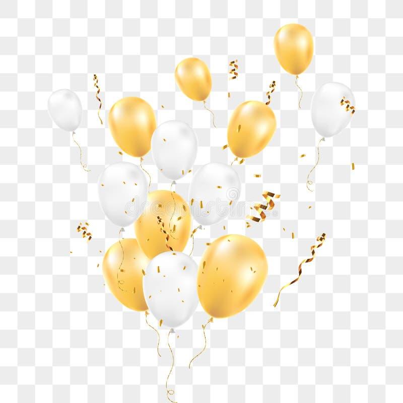 有在透明背景隔绝的五彩纸屑的气球 皇族释放例证
