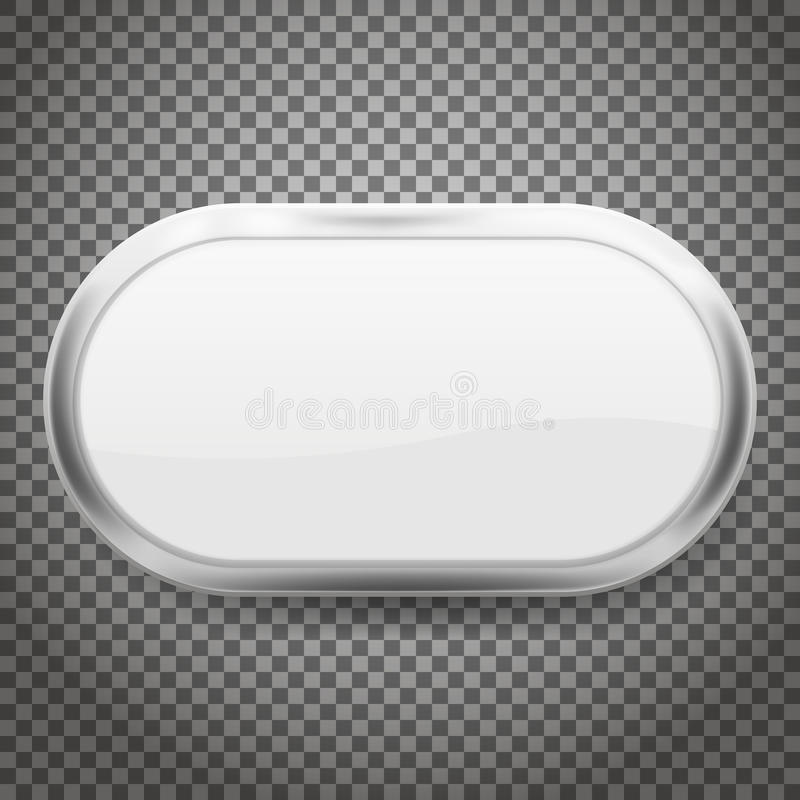 有在透明背景隔绝的镀铬物框架的卵形按钮 也corel凹道例证向量 库存例证