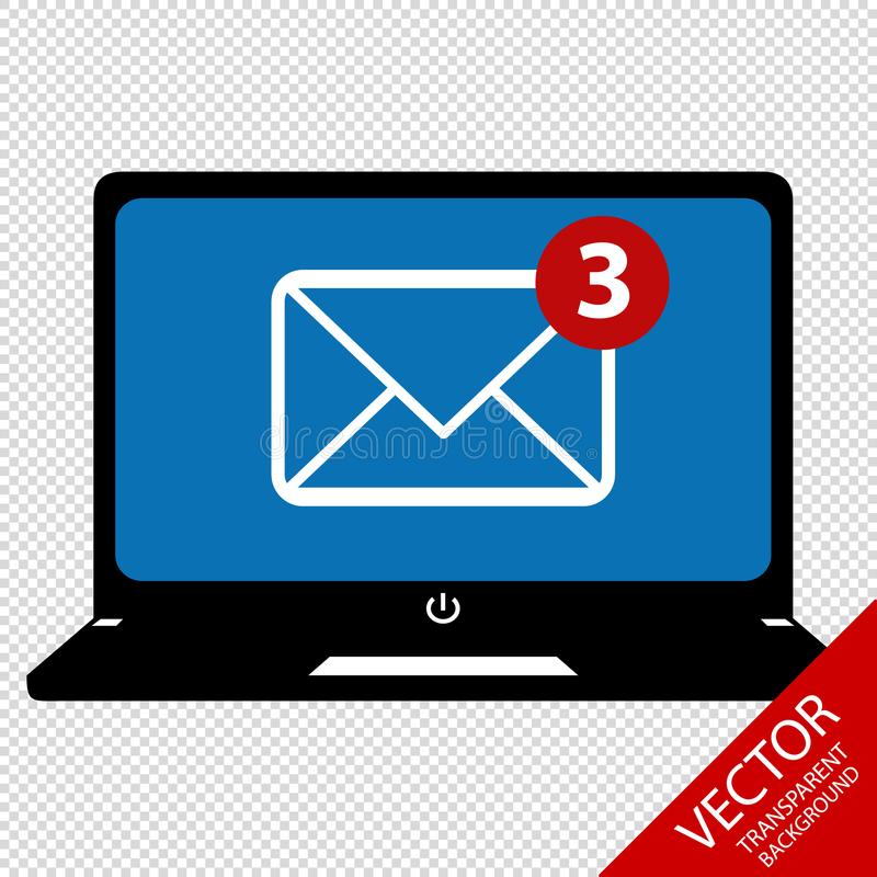 有在透明背景-传染媒介例证-隔绝的电子邮件接受的标志的便携式计算机 皇族释放例证