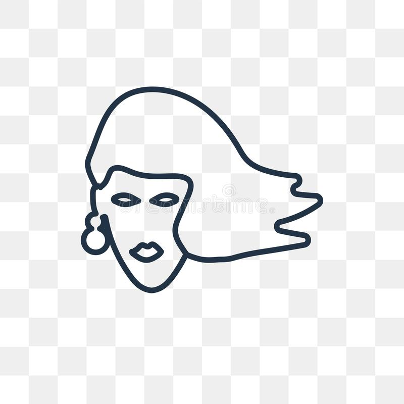 有在透明backgro隔绝的长的头发传染媒介象的妇女 皇族释放例证