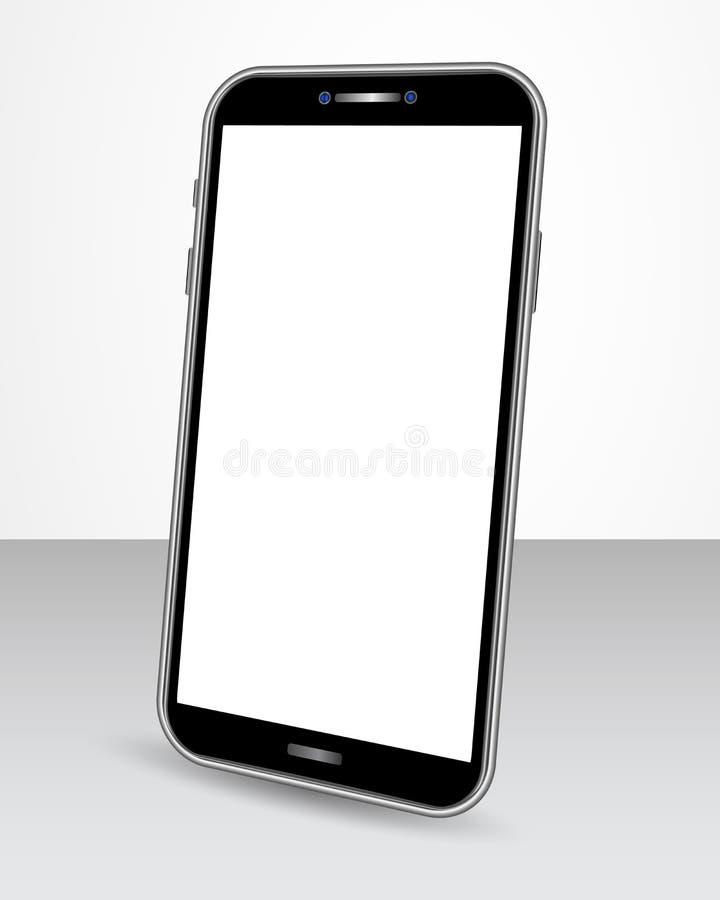 有在透视图的光滑的桌上隔绝的黑屏的现实智能手机 设计的智能手机嘲笑横幅的 向量例证