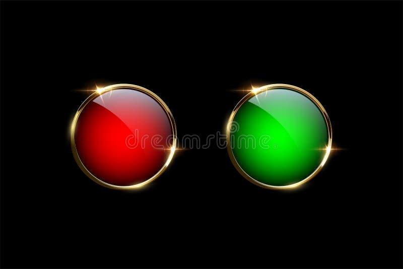 有在黑背景隔绝的金黄圆环的红色和绿色按钮 容易的设计编辑要素导航 向量例证