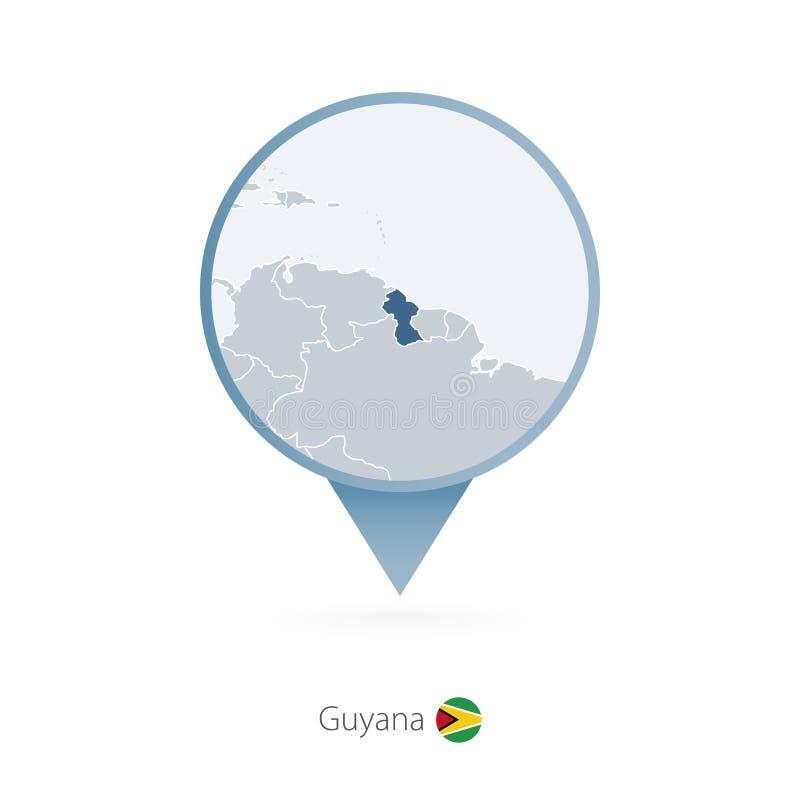 有圭亚那和邻国详细的地图的地图别针  向量例证