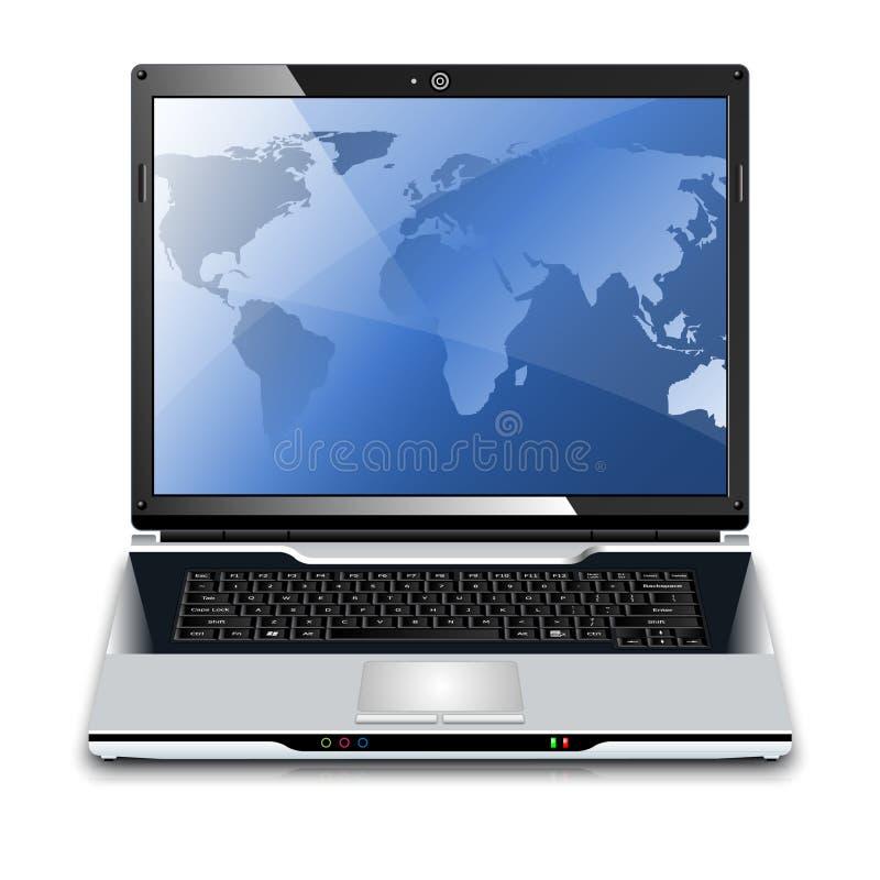 有地图的传染媒介膝上型计算机在桌面上 库存例证