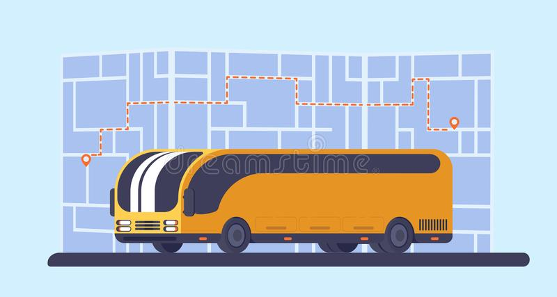 有地图的城市公共汽车在背景 运输乘客的车 库存例证