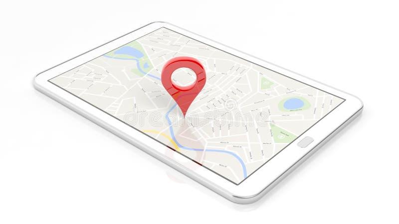 有地图的片剂和在屏幕上的红色针尖 皇族释放例证