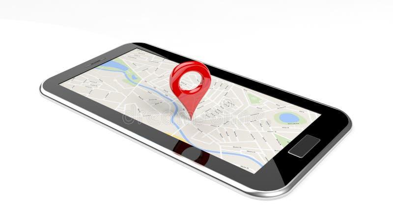 有地图的片剂在屏幕上 库存例证