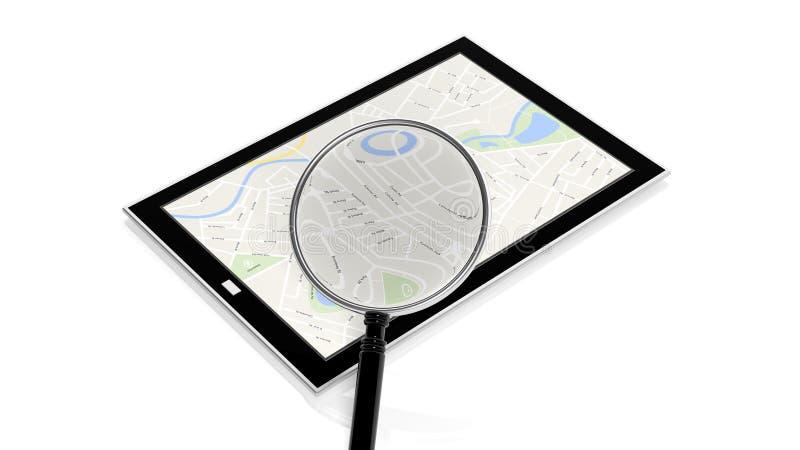 有地图的片剂在屏幕上 向量例证