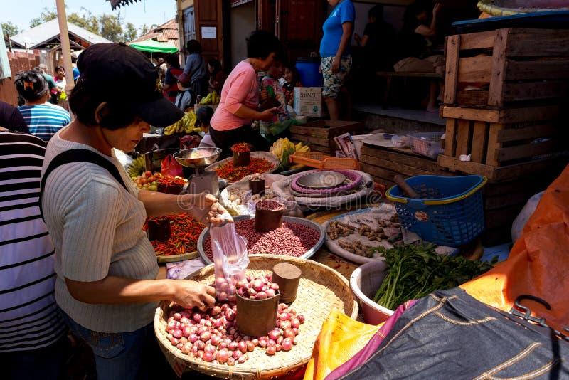 有地方菜的传统市场在托莫洪市 免版税图库摄影
