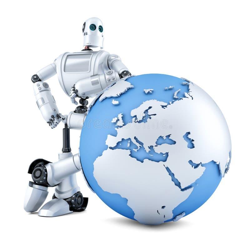 有地球地球的机器人 查出 包含裁减路线 皇族释放例证