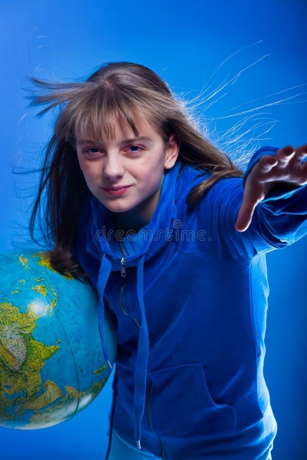 有地球的女孩 库存图片