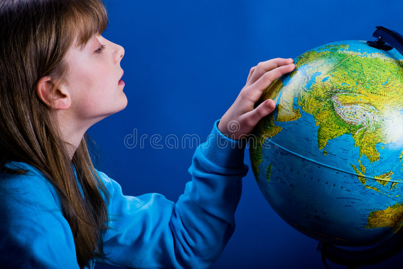 有地球的女孩 免版税库存照片