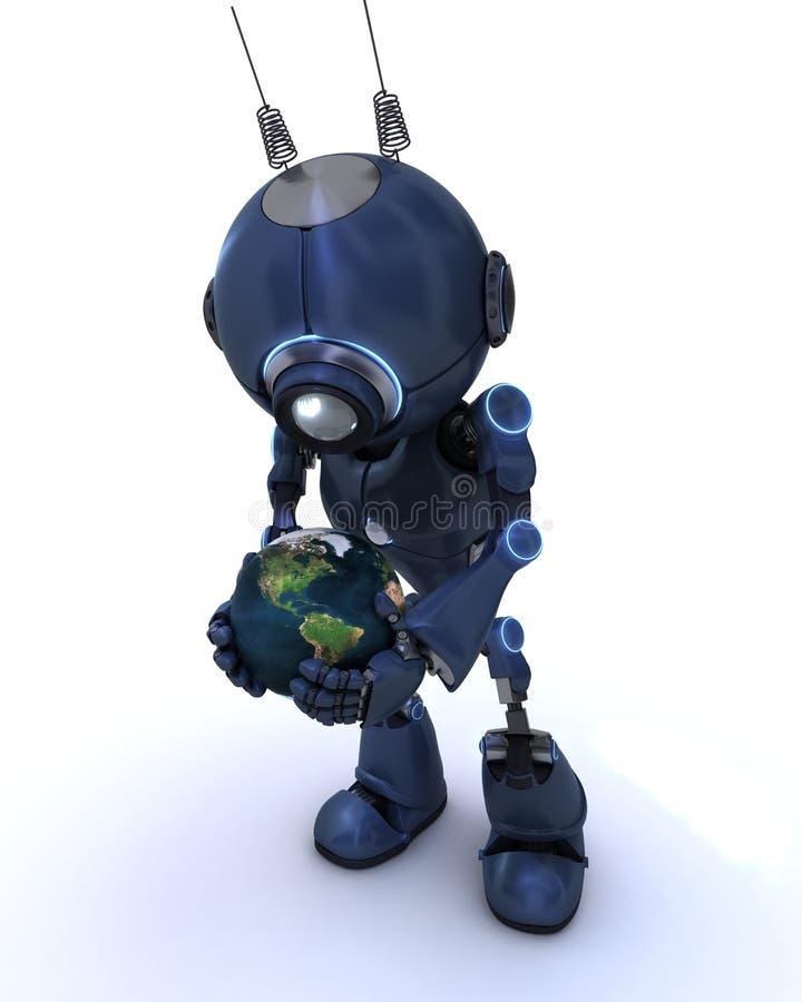有地球的机器人 库存例证