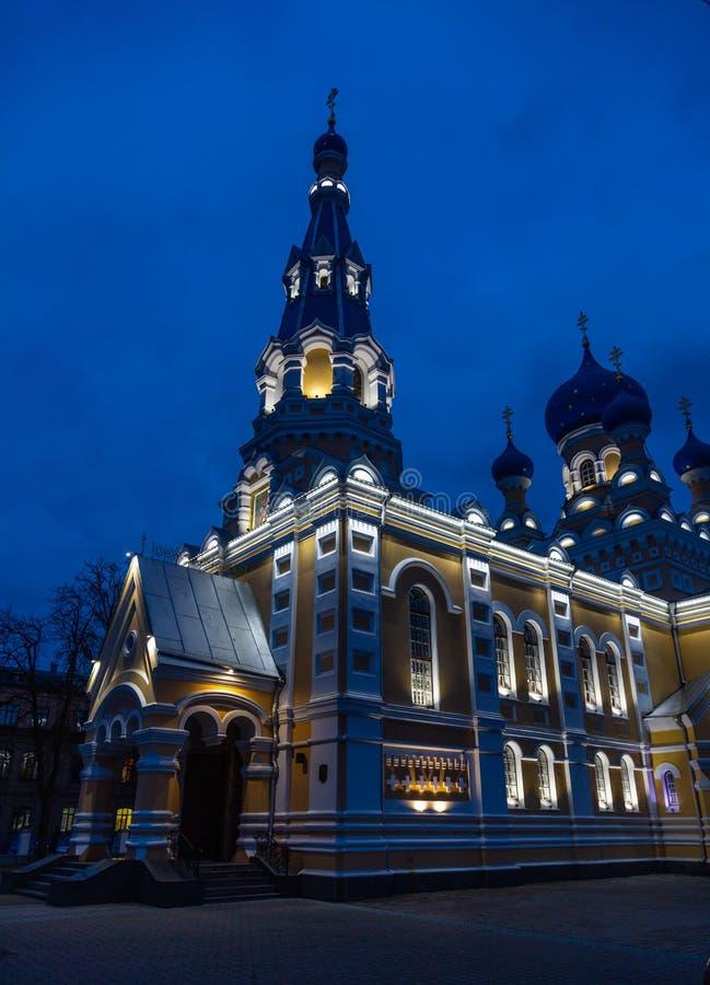 有均匀照明的圣尼古拉斯大教堂在布雷斯特,白俄罗斯 免版税库存照片