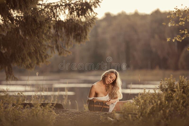 有坐和拿着野餐篮子的美丽的乳房的肉欲的年轻女人 库存图片