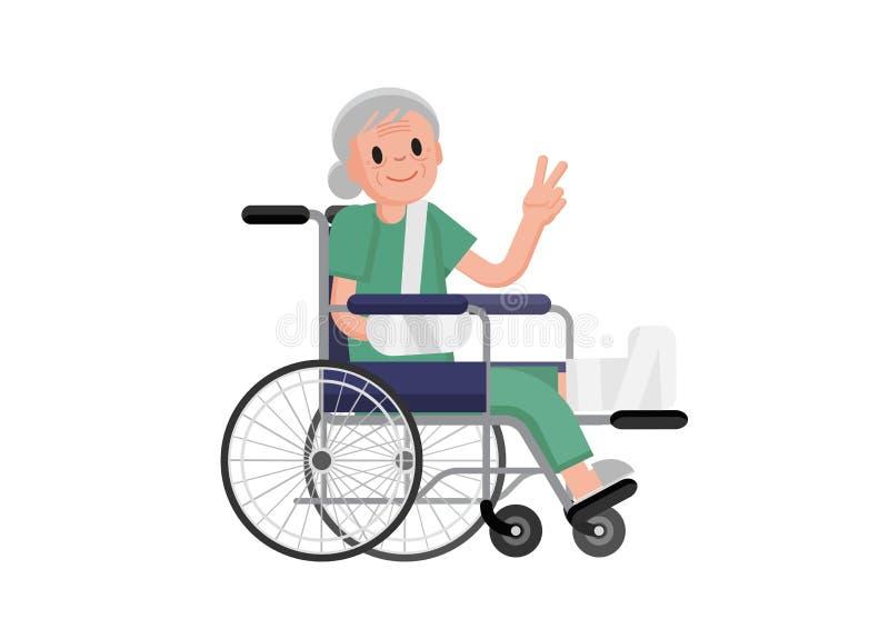 老妇伦囹�a�M_有坐在轮椅的断腿的老妇人 一个轮椅的祖母有断骨头的