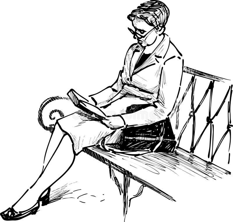 有坐在靠窗座位读书的长的头发的少妇 皇族释放例证