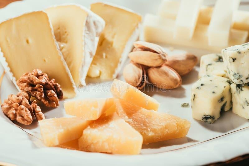 有坚果和调味汁的乳酪盘子 免版税图库摄影