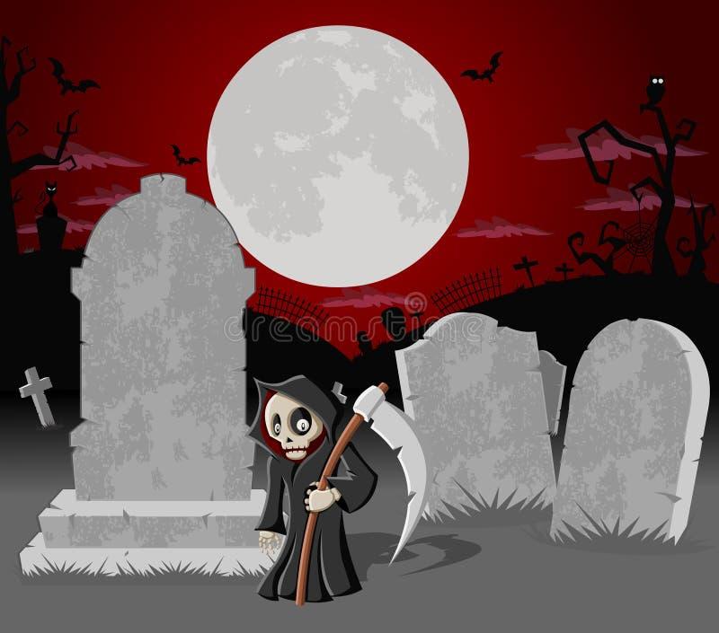 有坟茔和死亡的万圣节墓地 皇族释放例证