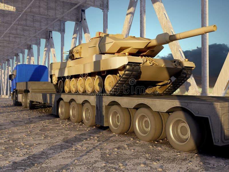 有坦克的拖拉机 库存例证