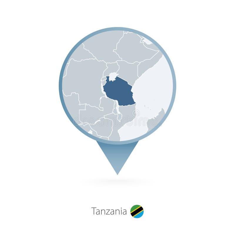 有坦桑尼亚和邻国详细的地图的地图别针  向量例证