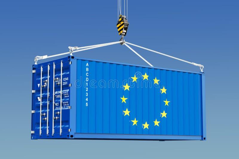 有垂悬在起重机勾子的欧盟旗子的货箱反对b 向量例证