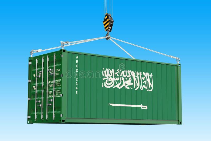 有垂悬在起重机勾子的沙特阿拉伯旗子的货箱 向量例证