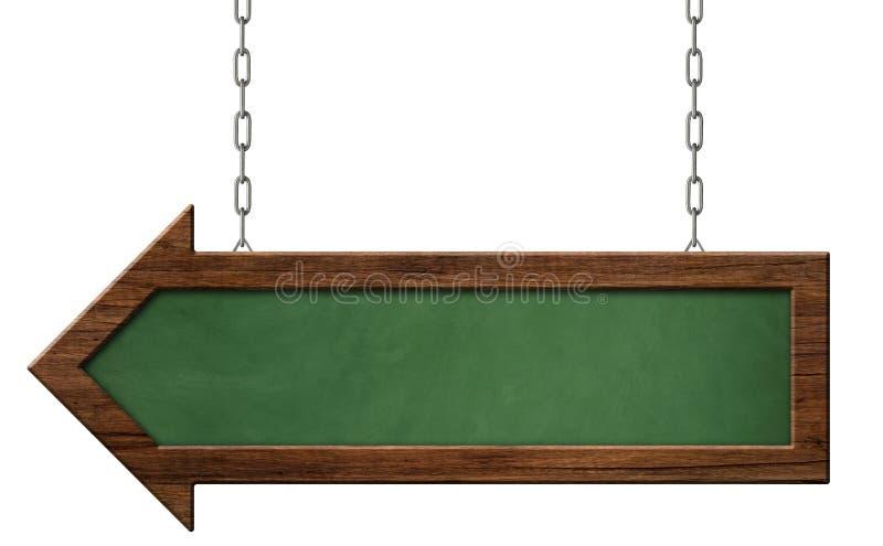 有垂悬在链子的黑暗的框架和箭头形状的绿色黑板 向量例证