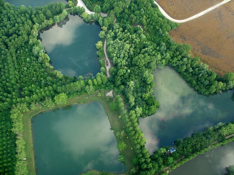 有垂直的钻子的某一湖 库存图片