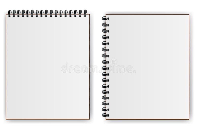 有垂直螺旋阴影的笔记本水平和 皇族释放例证