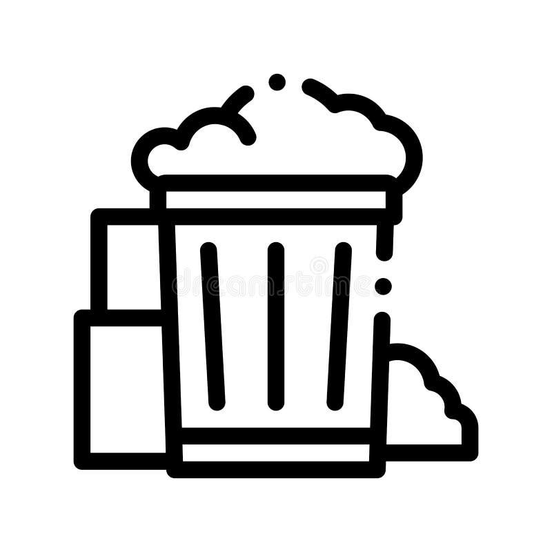 有垃圾垃圾传染媒介稀薄的线的象容器 库存例证