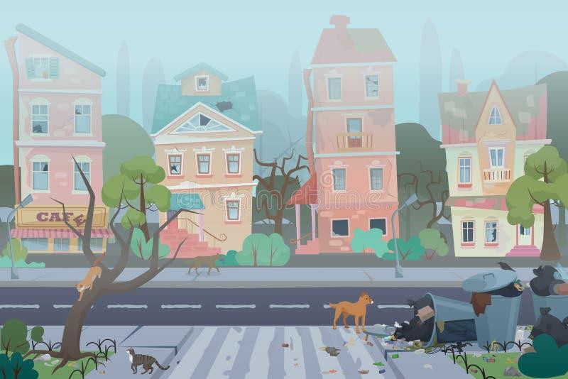 有垃圾的肮脏的有雾的街道 有被佩带的,残破和肮脏的大厦的,废物,有猫的充分的垃圾箱空的城市 向量例证