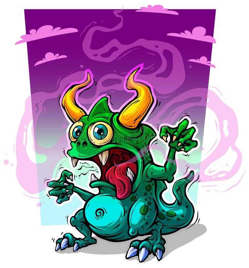 有垫铁的动画片滑稽的绿色妖怪 向量例证
