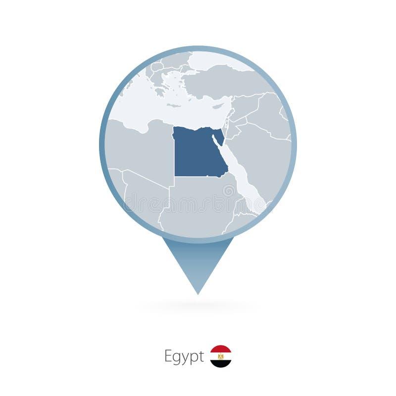 有埃及和邻国详细的地图的地图别针  向量例证