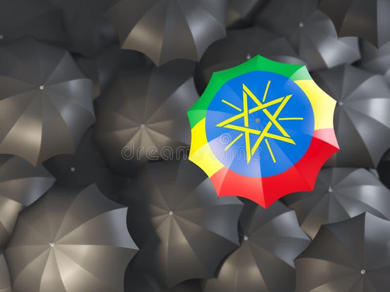 有埃塞俄比亚的旗子的伞 皇族释放例证
