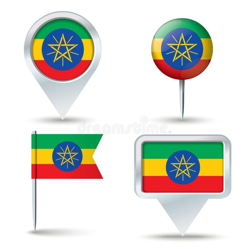 有埃塞俄比亚的旗子的地图别针 向量例证