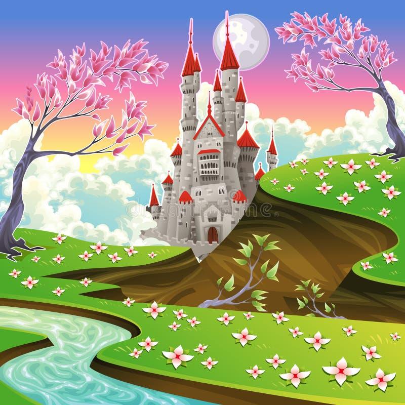 有城堡的全景。 皇族释放例证