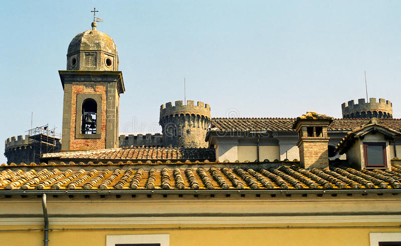 有城堡的,布拉恰诺,意大利老城市 免版税库存图片