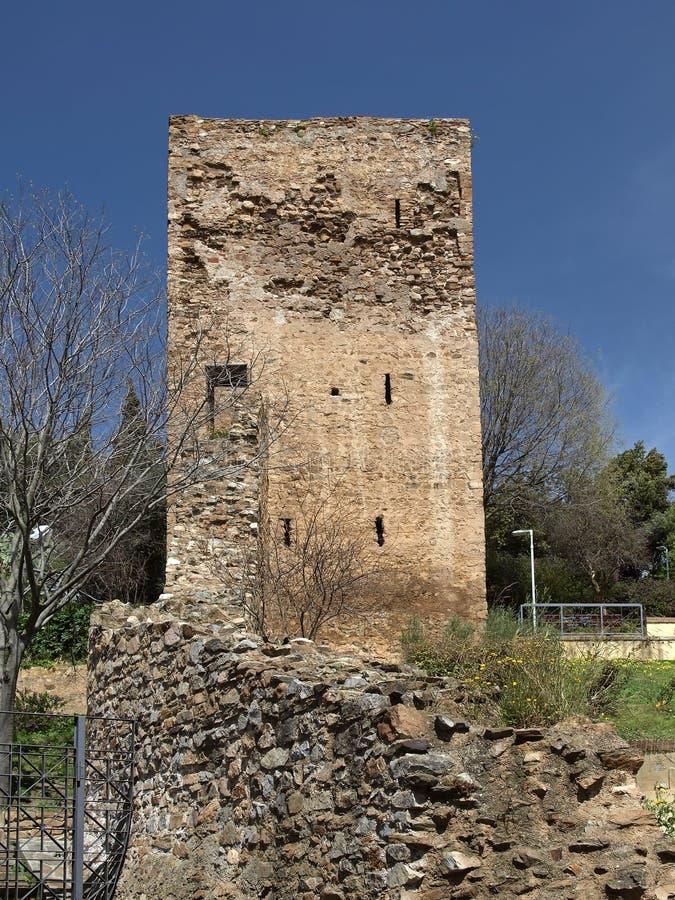 有城堡Castello Salvaterra,撒丁岛塔的伊格莱斯  库存照片